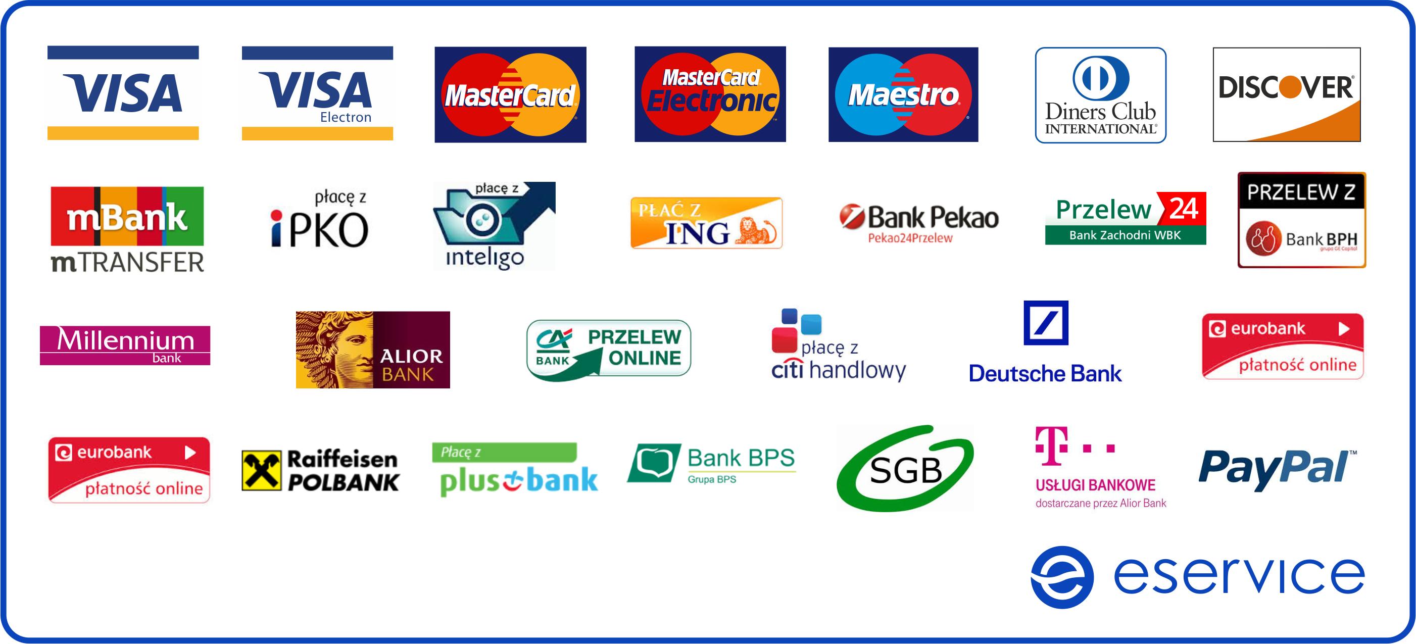 rodzaje płatności eService